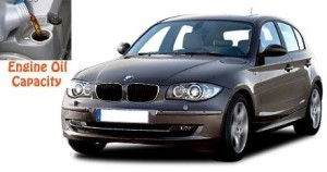 BMW 118 i and 118 d engine oil capacity in quarts / liters