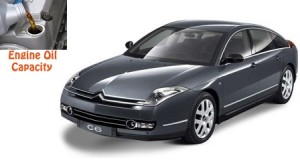 Citroen C6 engine oil volume in quarts – liters
