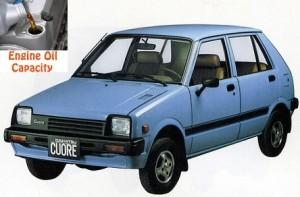 Daihatsu Cuore 1 engine oil volume in quarts – liters