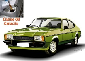 Ford Capri engine oil volume in quarts – liters