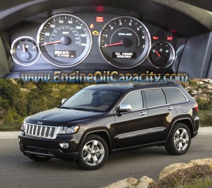 Jeep Grand Cherokee Overland Summit 3.6 l engine and oil pan capacity in liters-quarts-gallon.